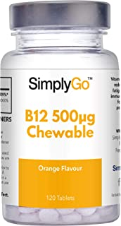 Vitamina B12 500mcg - Masticable con sabor naranja - Apta para veganos - ¡Bote para 4 meses! - 120 comprimidos - SimplySupplements