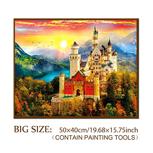 5D Diamond Painting Kit Full Drill Accessories Decor for Adults, DIY Indoors Large Paintings Kits Ornaments, Fairy Tale Castle Rhinestone Home Wall Art Party Decoration 3D(50x40CM / 19.69x15.75INCH)
