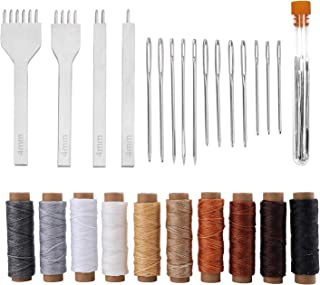 Suwimut 26 Pieces Leather Sewing Tools Kit, DIY Leather Craft Tools with 4mm Hole Stitching Prong Punch, Waxed Thread and ...