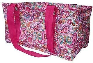 BVGIFTS Medium Utility Tote Organizing Laundry Beach Bag Pink Paisley