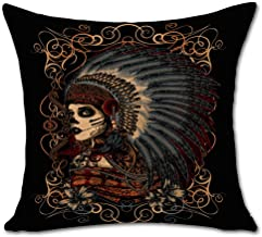 Indian Skull Stuffed Cushion ChezMax Cotton Linen Throw Pillow Square Insert for Living Family Bed Dinning Drawing Room De...
