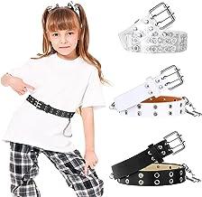 3 Pieces Kids Double Grommet Belts with Holes PU Leather 2-Row Grommet 3 Colors Adjustable Waist Belts for Girls Boys Jean...