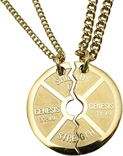 Gold Stainless Steel Large Split Weight Plate Necklace-Genesis 31:49