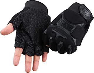ACVCY Fingerless Gloves for Kids,Non-Slip Classic Fingerless Cycling Gloves Finger Mountain Bike Bicycle Riding Outdoor Gloves