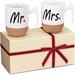 Zi-Rui Mr and Mrs Ceramic Coffee Mugs Set of 2 - Novelty Mr and Mrs Coffee Tea Cups 9.5 oz With Cork Bottom. Comes In A Gift Box, For Parents,Anniversary, Mom and Dad, Couples, Friends, Lovers.