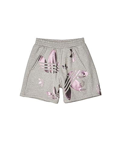 adidas Originals Large Logo Shorts (Medium Grey Heather/True Pink) Women