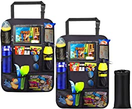 Car Backseat Organizer 2 Pack 11 Storage Pockets Kick Mats with Touch Screen Tablet Holder with Garbage Bag Car Seat Back Protector Travel Accessories for Kids and Toddlers