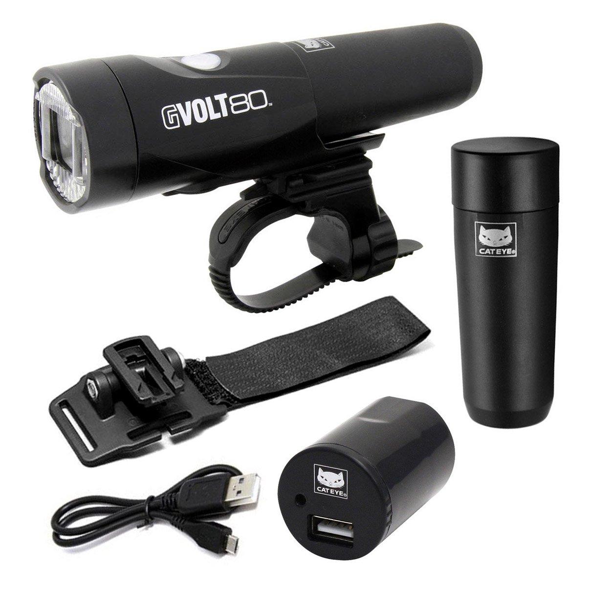 Cateye gvolt 80 LED Bicicleta luz/Linterna de Casco Incluye 2 baterías y Cargador: Amazon.es: Deportes y aire libre