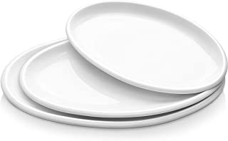 DOWAN Large Serving Platters, 12/14/15.5 Inches Oval Serving Platters, Oval Serving Plates Dinner Plates Serving Dishes, Ideal for Parties, Restaurant, Dessert Shop, Set of 3, White