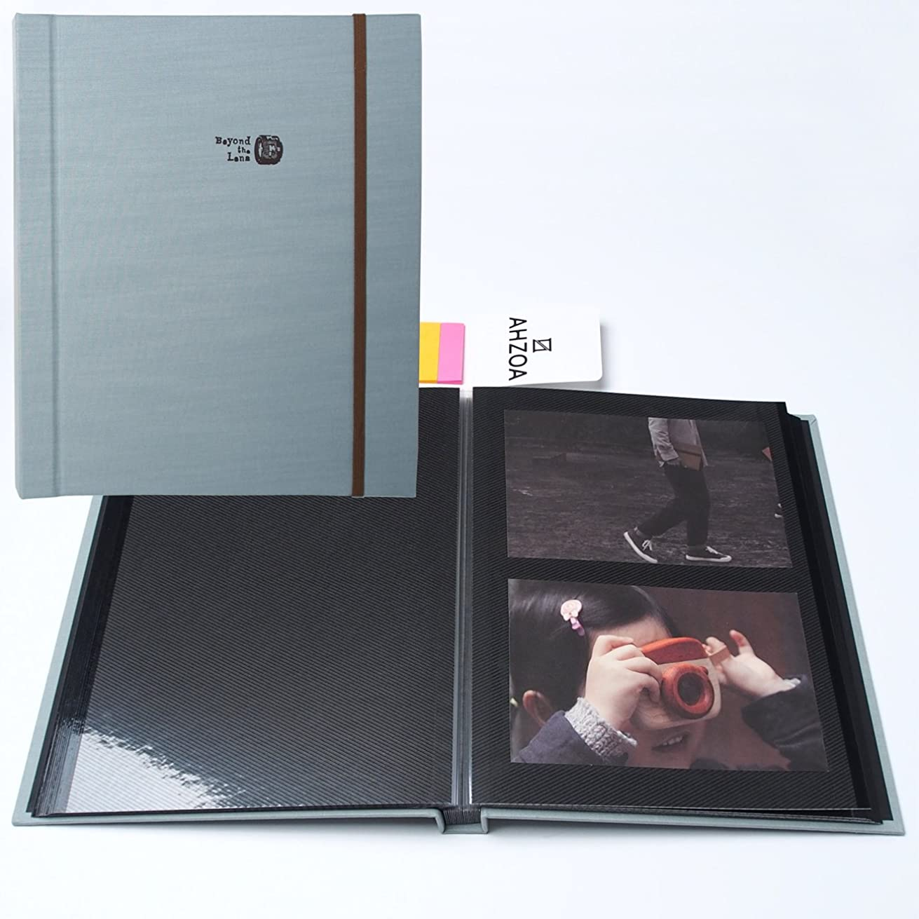 Self-Adhesive Photo Album with 5 Colors Sticky Flag, 40 Black Inner Pages Supporting PVC Films (Sky)
