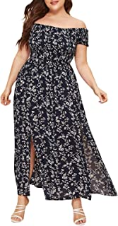 Janly Clearance Sale Womens Casual Dress, Women Plus Size Plus Off Shoulder Shirred Bodice Split Thigh Ditsy Floral Dress,...
