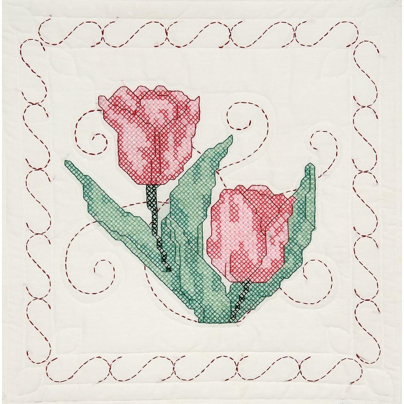 Fairway 95206 Quilt Blocks, Tulip Design, White, 6 Blocks Per Set