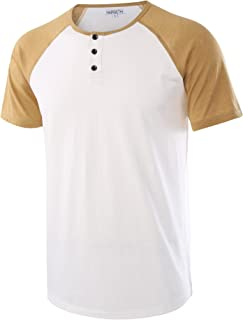 Men's Casual Short Sleeve Henley Shirt Raglan Fit Baseball T-Shirts Tee