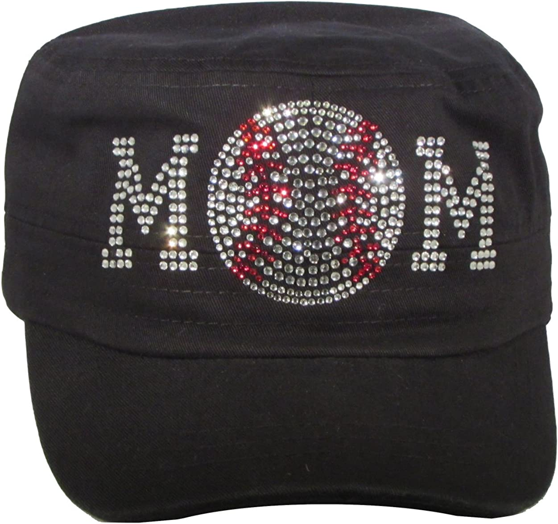 Bling Rhinestone Baseball Mom Black Cadet Cap Hat Sports Military