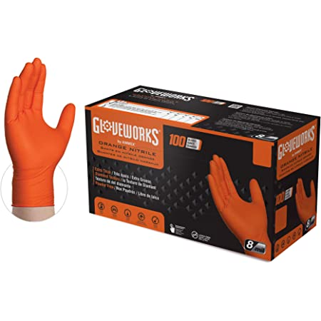Amazon Com Gloveworks Hd Industrial Orange Nitrile Gloves With Raised Diamond Texture Grip Box Of 100 8 Mil Size X Large Latex Free Powder Free Textured Disposable Food Safe Gwon48100bx