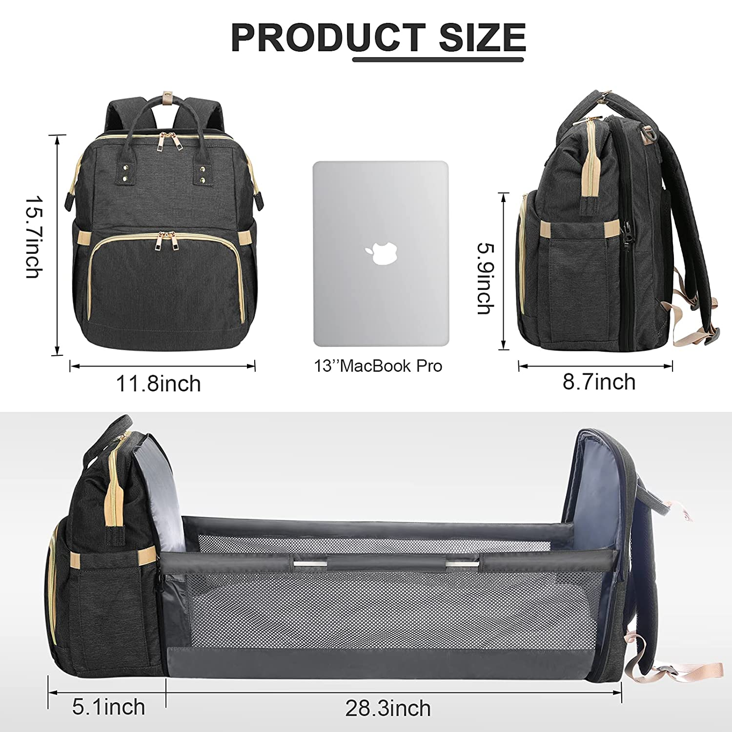 Diaper Bag Backpack Changing Station,5-in-1 Foldable Mommy Bag for Dad Mom,Baby Bags with Travel Bassinet Bed for Boys Girl, Large Capacity with Crib,Mattress(Black)