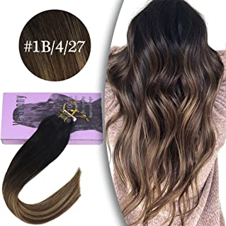 VeSunny Remy Tape in Hair Extensions Ombre Balayage Hair Color #1b Natural Black Fading to #4 and #27 Caramel Blonde Dip Dye Ombre Human Hair Extensions 20 pcs 50g