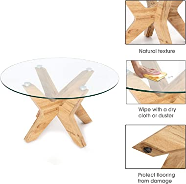 Ivinta Round Glass Coffee Tables for Living Room, 31.5 in Accent Coffee Side Tea Table with Natural Wood Frame and Tempered G