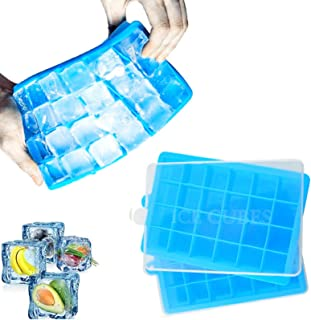 Silicone Ice Tray Ice Cube Trays with Lid 48-Ice Trays for Stackable Flexible, BPA Free (Blue-2pack)