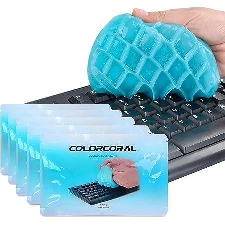 ColorCoral 粘着クリーナー キーボード 掃除 スライム 隙間 汚れ ホコリ取り 車内設備 クリーナー 強力粘着 繰り返し 多用途 柔らかい 70g*5 藍