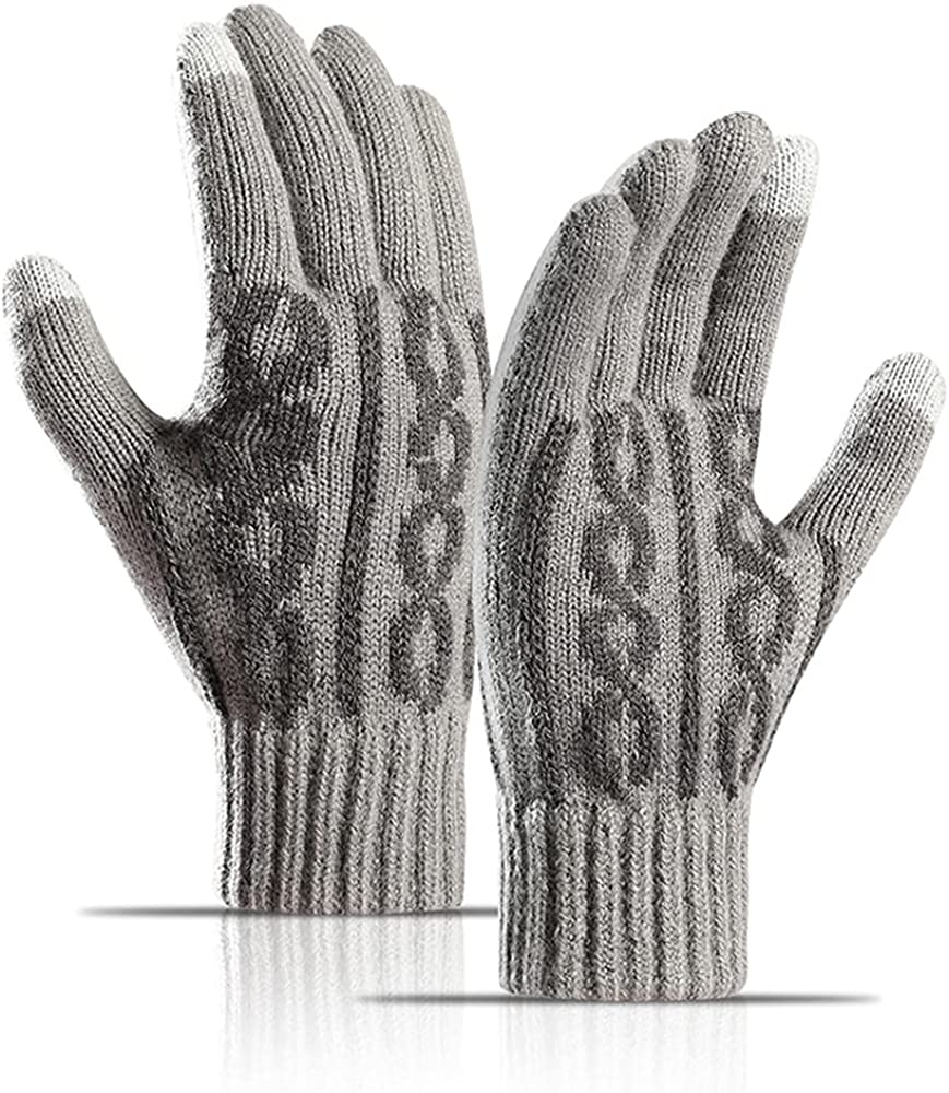 Avilego Men's Winter Thermal Gloves Thick Jacquard Warm Wool Blend Touch Screen Gloves Split Finger Gloves