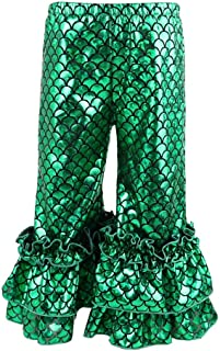 Wennikids Infant Toddler Baby-Girls Shiny Fish Scale Mermaid Flare Pants