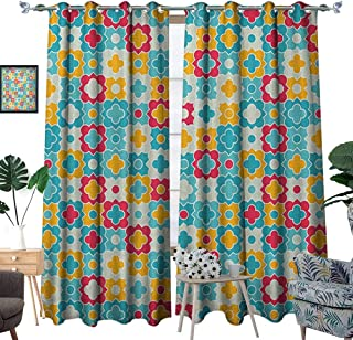 Warm Family Quatrefoil Window Curtain Drape Clover Leaves Barb Style Clover Lattice Boho Colorful Kids Themed Decorative Curtains for Living Room W108 x L84 Red Turquoise Yellow