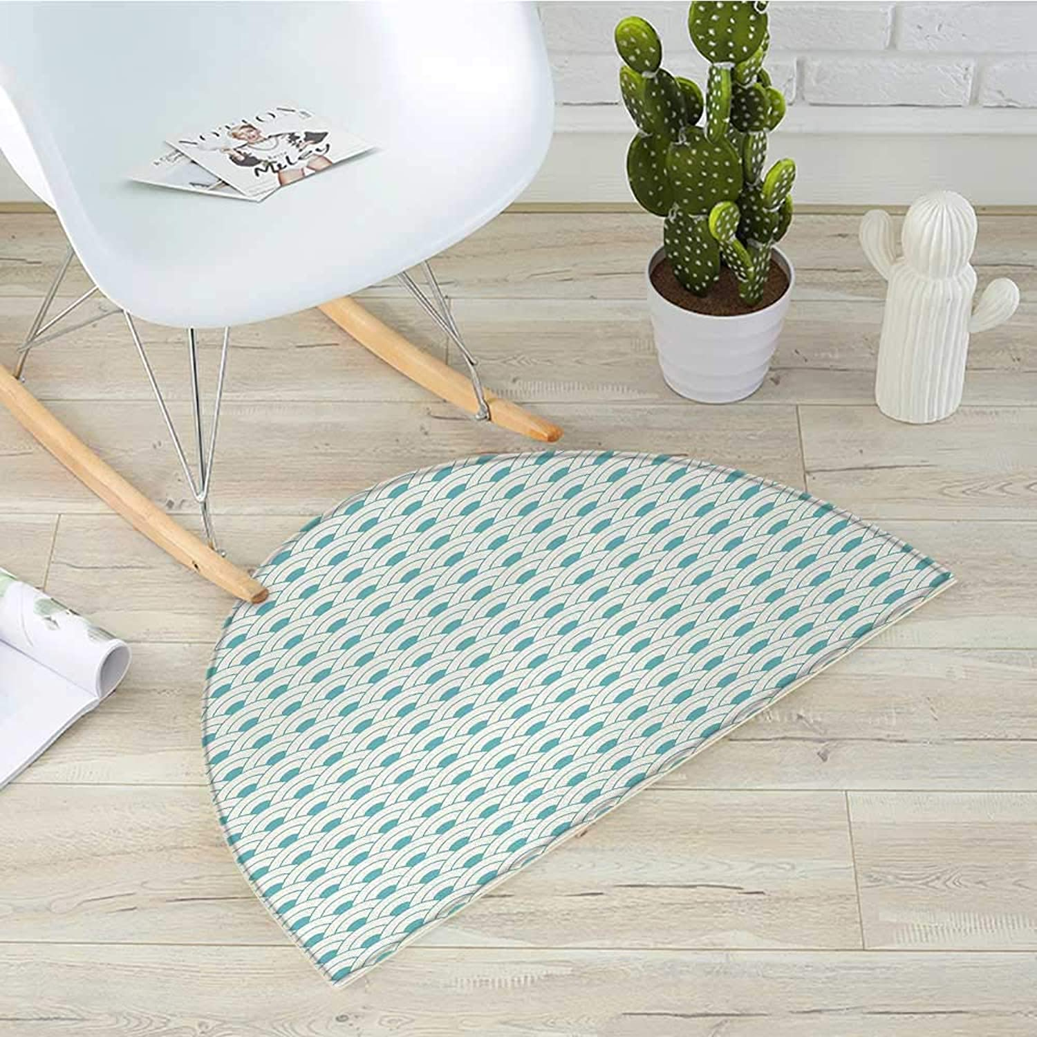 Ocean Semicircular CushionBold Half Circles Sea Inspired Theme Waves Simplistic Retro Design Maritime Print Entry Door Mat H 43.3  xD 64.9  Sky bluee White