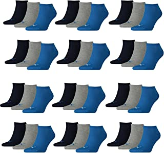 Puma, Calcetines deportivos unisex, pack de 12 unidades (35/38, azul/gris Mélange)