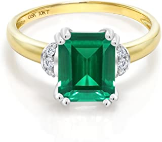 10K 2 Tone Gold Green Simulated Emerald and Diamond Accent Women's Engagement Ring (2.12 Cttw Emerald Cut, Available in size 5, 6, 7, 8, 9)
