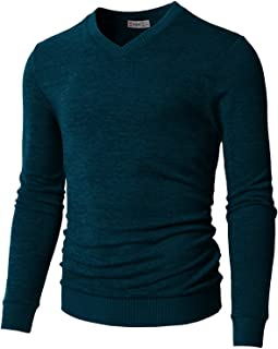 H2H Mens Casual Slim Fit Pullover Sweaters V-Neck Knitted Tops Longsleeve Basic Designed