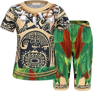 Jurebecia Moana Maui Pijamas Dos Piezas Niño Ropa Pajamas pjs Conjunto Ropa de Dormir Mangas largas Pijama para Niños
