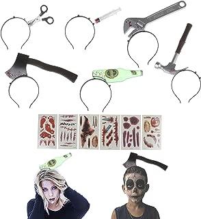 6Pcs Halloween Horror Hair Bands, Scissor, Hammer, Wrench, Needle, Axe, Beer Bottle Headband Zombie Headbands Halloween Decor 20pcs Halloween Tattoo Sticker