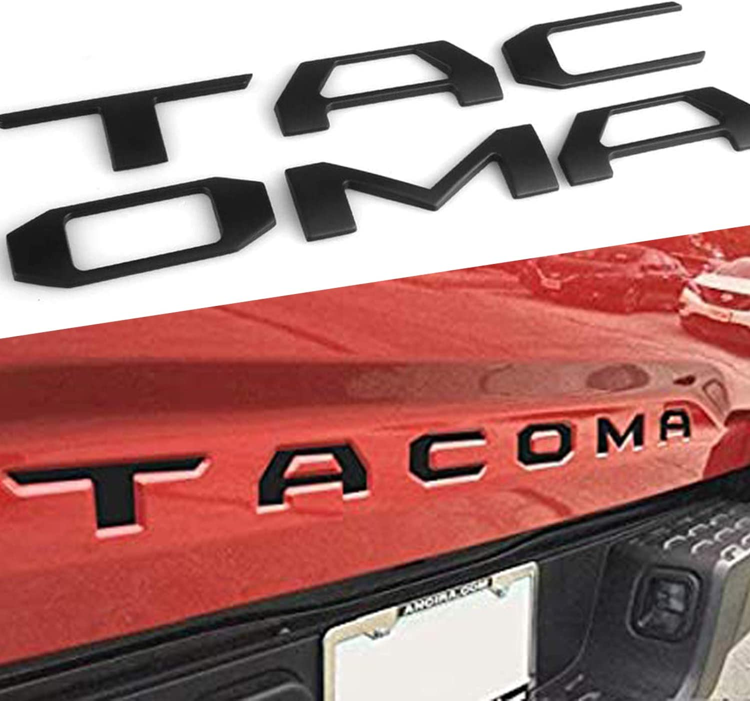 Red Tacoma Tailgate Letters Auto safety Tailgate Insert Letters for Toyota Tacoma 2016 2017 2018 2019 2020 3D Raised /Rear Emblem Decals with seccotine