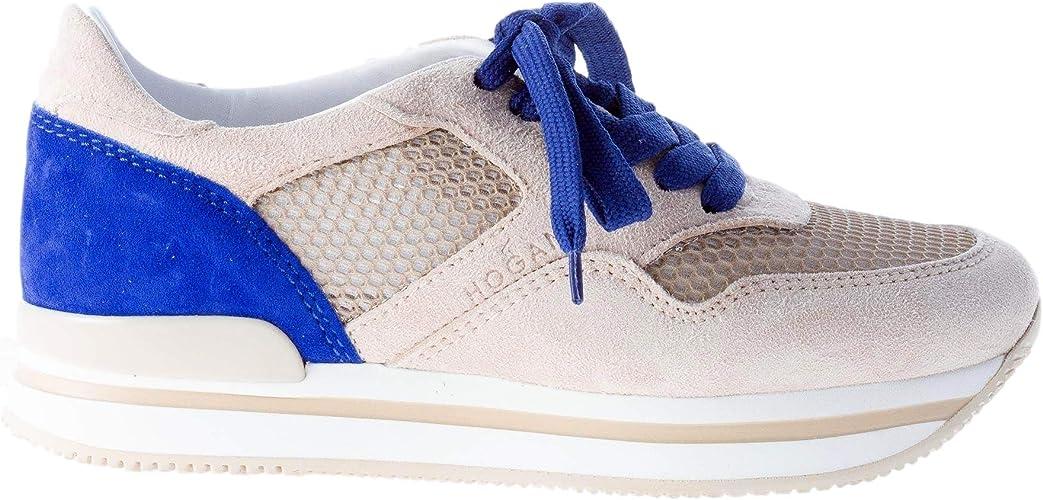 Hogan Donna Sneaker H222 in camoscio più Tessuto Beige e Blu Color ...