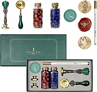 Kit d'étanchéité à la Cire Tampon Sceau,Chauffe-cires, Cire un Cacheur Cuillère Fleur Scrapbooking Mariage Enveloppes