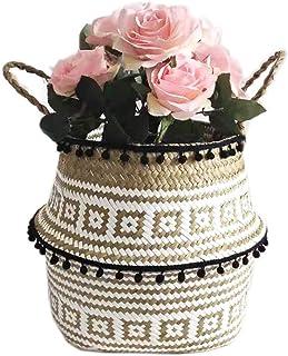DFBGL Panier de Rangement en Osier Boîte de Rangement en rotin tissé, Pot de Fleur Panier en rotin Naturel avec poignée Pl...