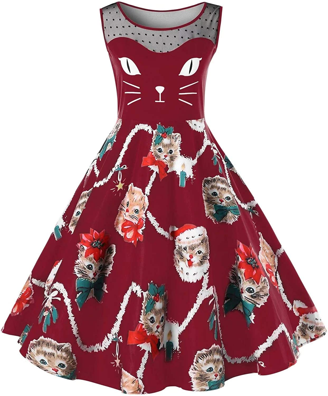 Geckatte Womens Vintage Sleeveless Christmas Dresses Sexy Lace Cat Kitten Print Swing Party Midi Dress