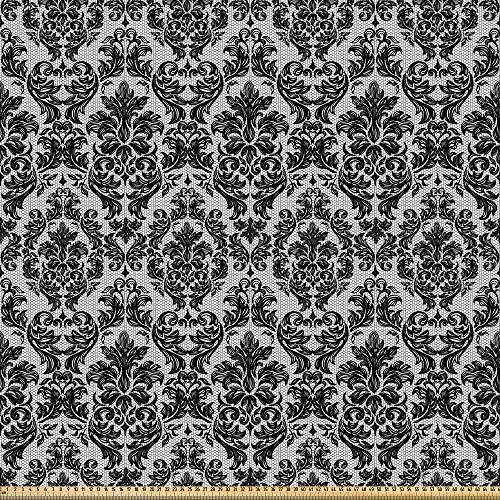 ABAKUHAUS Barock- Stoff als Meterware, Vintage Spitze-Art, Microfaser Stoff für Dekoratives Basteln, 1M (230x100cm), Weiß und Schwarz