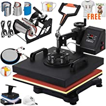 VEVOR Heat Press 15x15 inch Heat Press Machine 8 in 1 Multifunctional Heat Press Swing-Away Sliding Rails Heat Press Machine for T Shirts Mug Hat Press(with T-Shirts and Stickers)