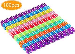 KISSBUTY 100 Pcs Translucent Colors 6-Sided Games Dice Set, 14 mm Round Corner Dice for Playing Games, Like Board Games, Dice Games, Party Favors, Gifts