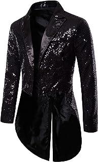 i3ckizce Men's Shiny Sequins Tuxedo Jacket Gentleman Fashion Jacket Men's Stage Costumes Multicolor Long Formal Jacket for...