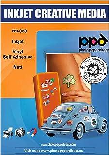 PPD Autocollants en Vinyle Mat, Qualité Photo, Personnalisables , Impression Jet d'Encre, A4 x 20 Feuilles, PPD-38-20