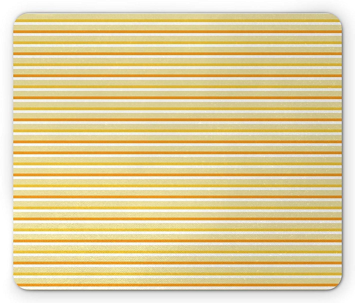 ただやるの慈悲で避難する黄色と白のマウスパッド、水平方向の秋の色のストライプクラシックヴィンテージ自然をテーマにした、標準サイズの長方形の滑り止めラバーマウスパッド、黄白オレンジ