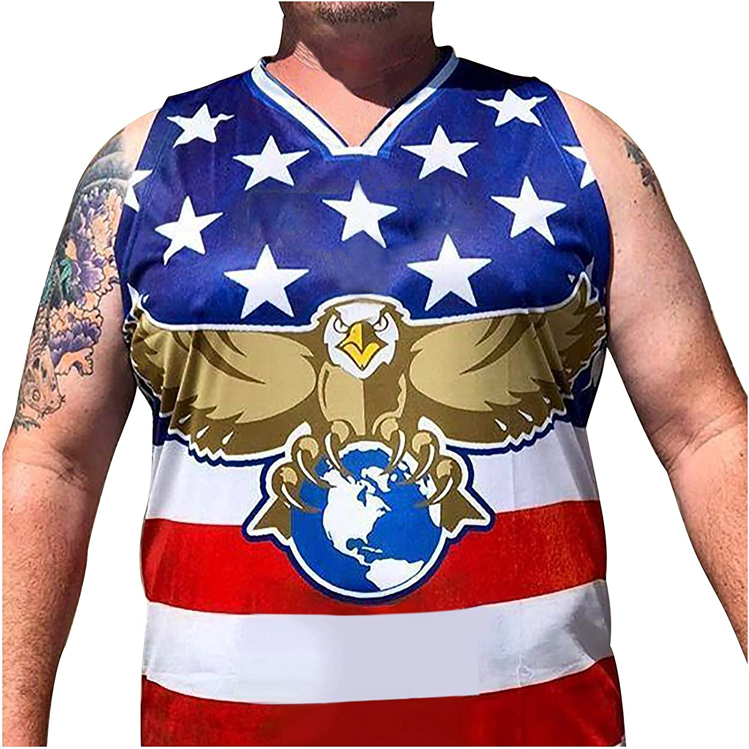 2021 Fashion Jersey Shirt for Men's/Women's, Independence Day Printed Sleeveless T-Shirt Vest Tank Tops Blouse