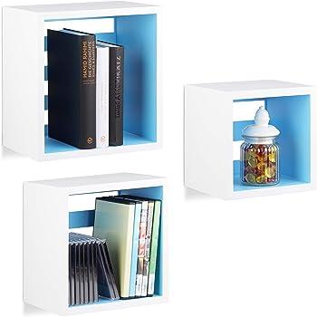 Relaxdays 10021884/_749 /Étag/ère suspendue lot de 3 support mural flottant meuble rangement bois MDF tablette blanc violet 10 x 21,5 x 42,5 cm ; 1,58 Kg