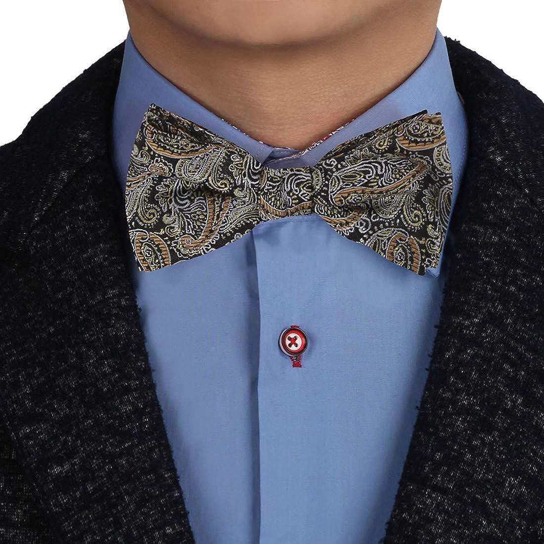 Epoint Men's Fashion Multicolored Fashion Patterned Silk Self Bowtie Set