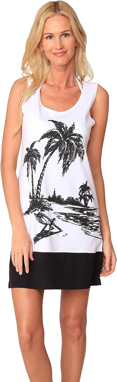 INGEAR Sleeveless Casual Short Sundress Tropical Print Hawaiian A Line Tank Dress