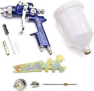 IPOTOOLS Pistola Pintura HVLP H-827P - Sistema Profesional de Pintura con Vaso de plástico de 600 ml y Boquilla de Acero Inoxidable 1,4mm + Juego de Boquilla de 1,7mm
