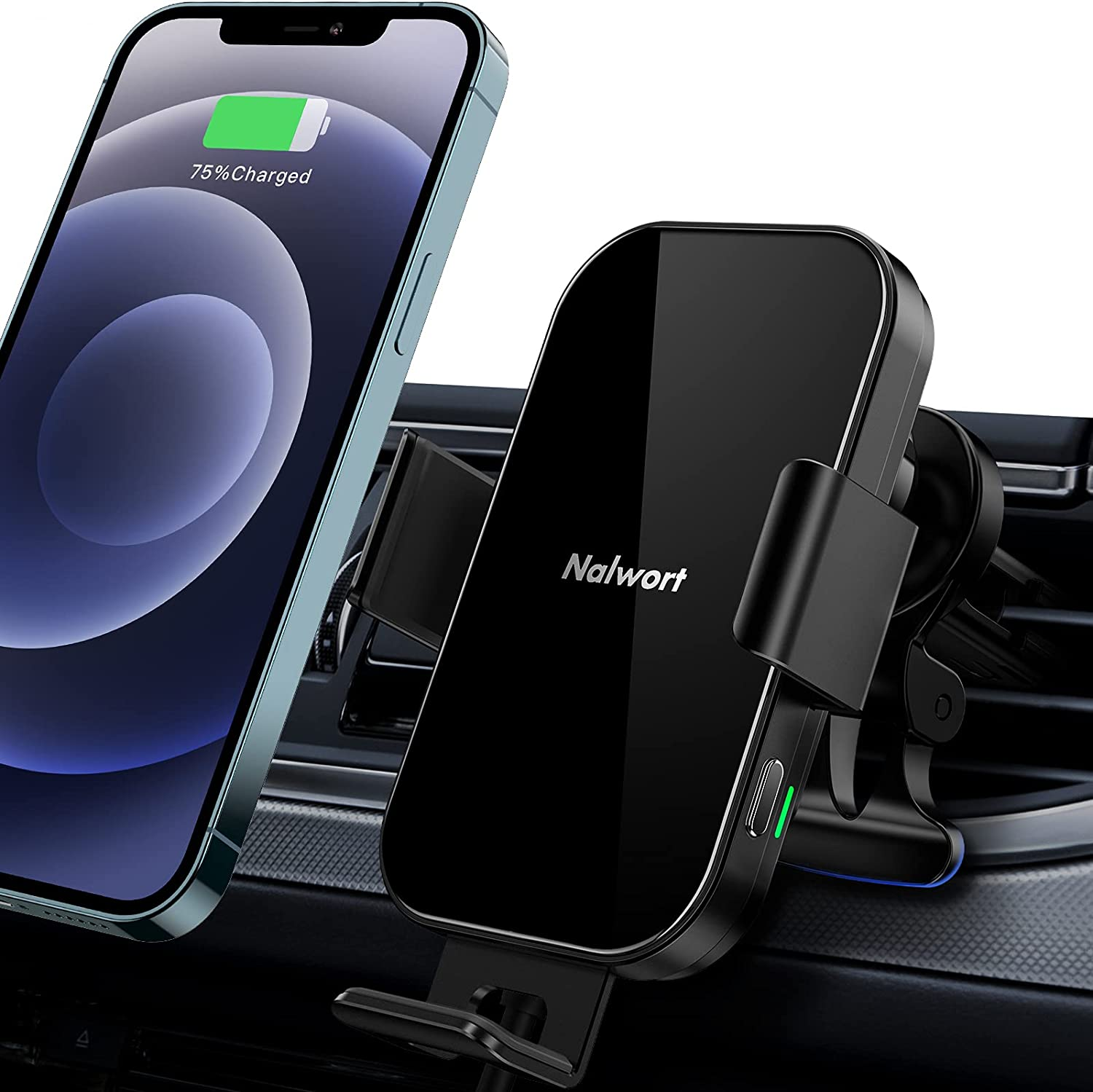 Wireless Car Charger, Nalwort 15W/10W/7.5W Qi Car Charger, Metal Frame Auto-Clamping Car Wireless Charger Mount Air Vent Phone Holder Compatible with iPhone 12/11/Pro/Pro Max, Samsung S21/S20/Note 20